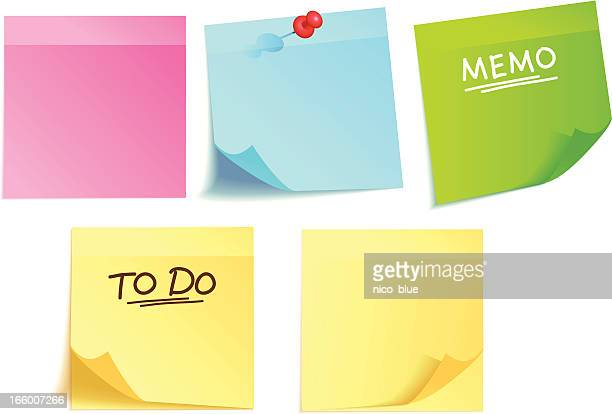 colorful adhesive notes - to do list stock illustrations