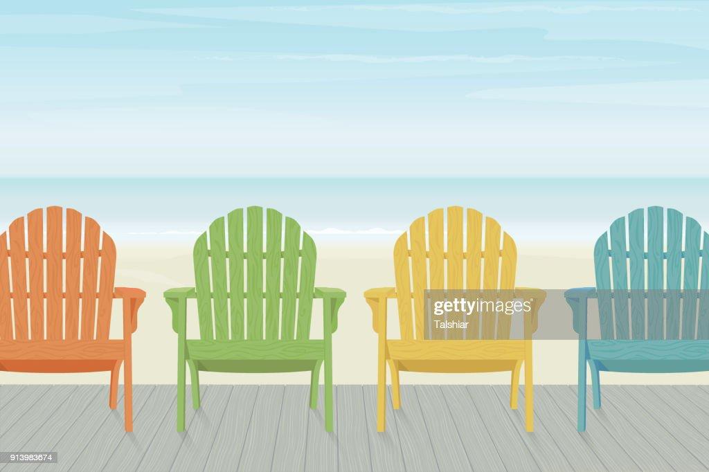 Colorful Adirondack Beach Chairs on Boardwalk