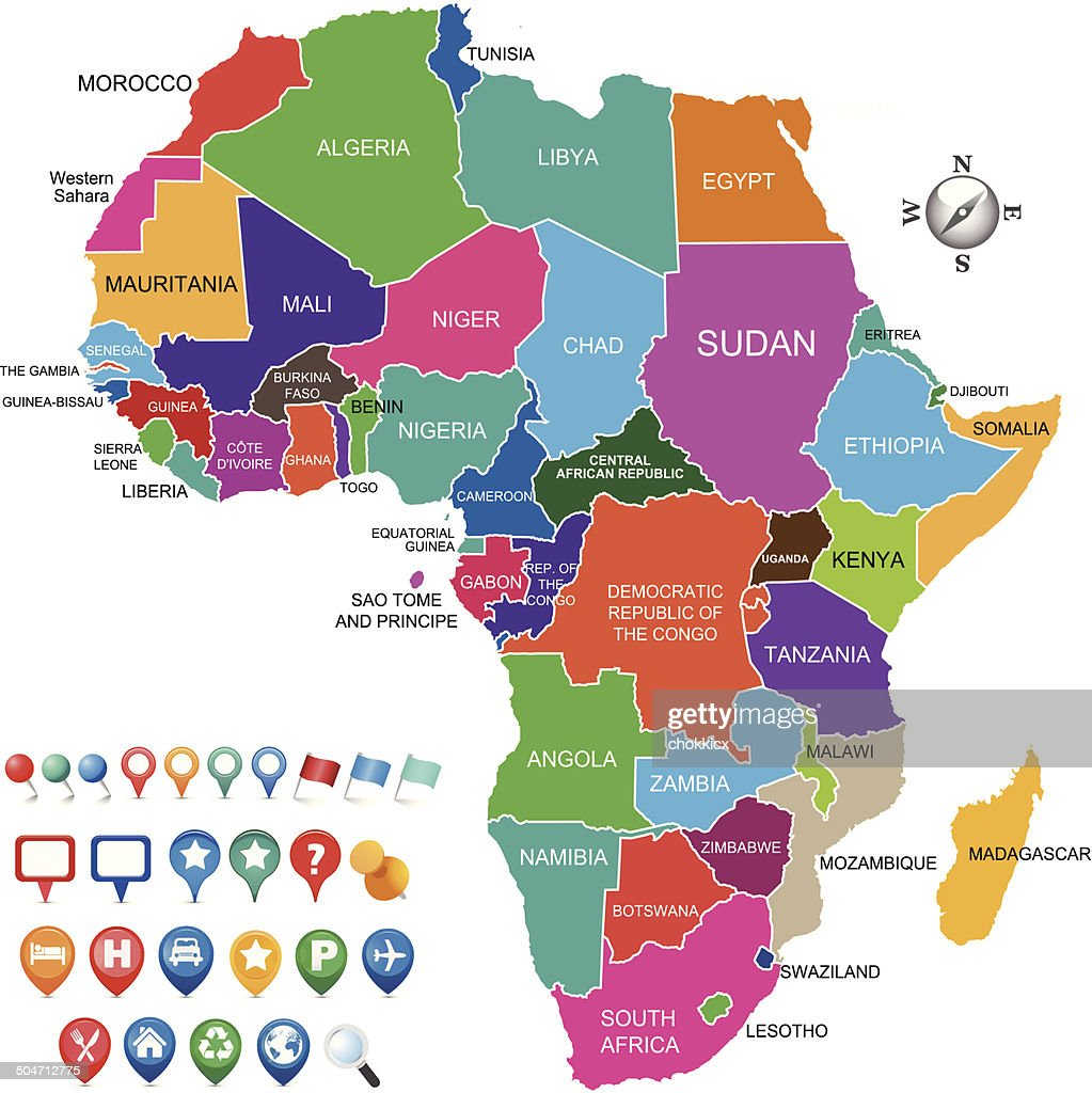 colorful africa map with various gps icons