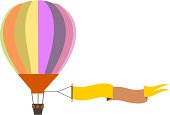 colorful air balloon with banner