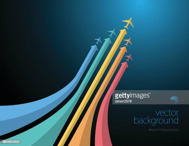 Colorful airliner in action on dark color background