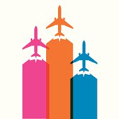 colorful airplane icons