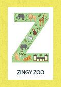 Colorful alphabet letter Z. Phonics flashcard. Cute letter Z for teaching reading with cartoon style zoo, tiger, giraffe, lion, monkey, zebra, elephant, kangaroo.