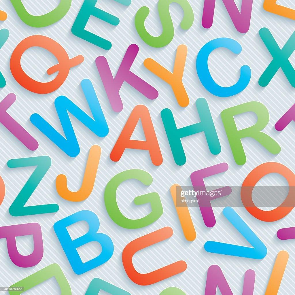 Colorful alphabet seamless wallpaper.