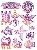 Colorful american aztec, mayan symbols