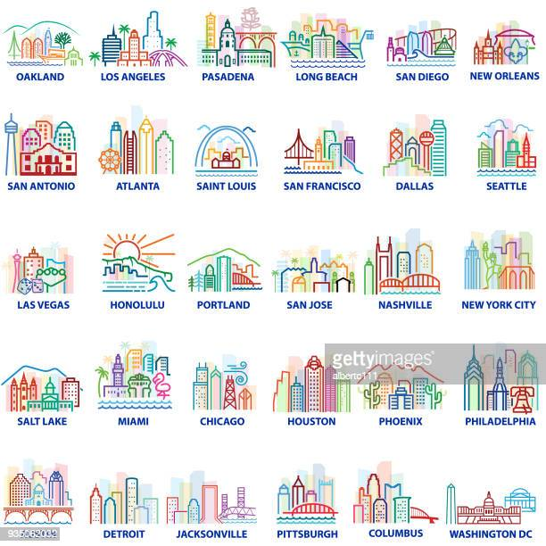 colorful american cityscapes - atlanta stock illustrations, clip art, cartoons, & icons