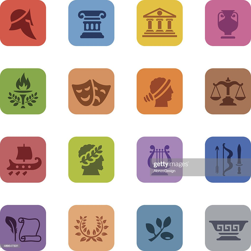 Colorful Ancient Greece Icon Set