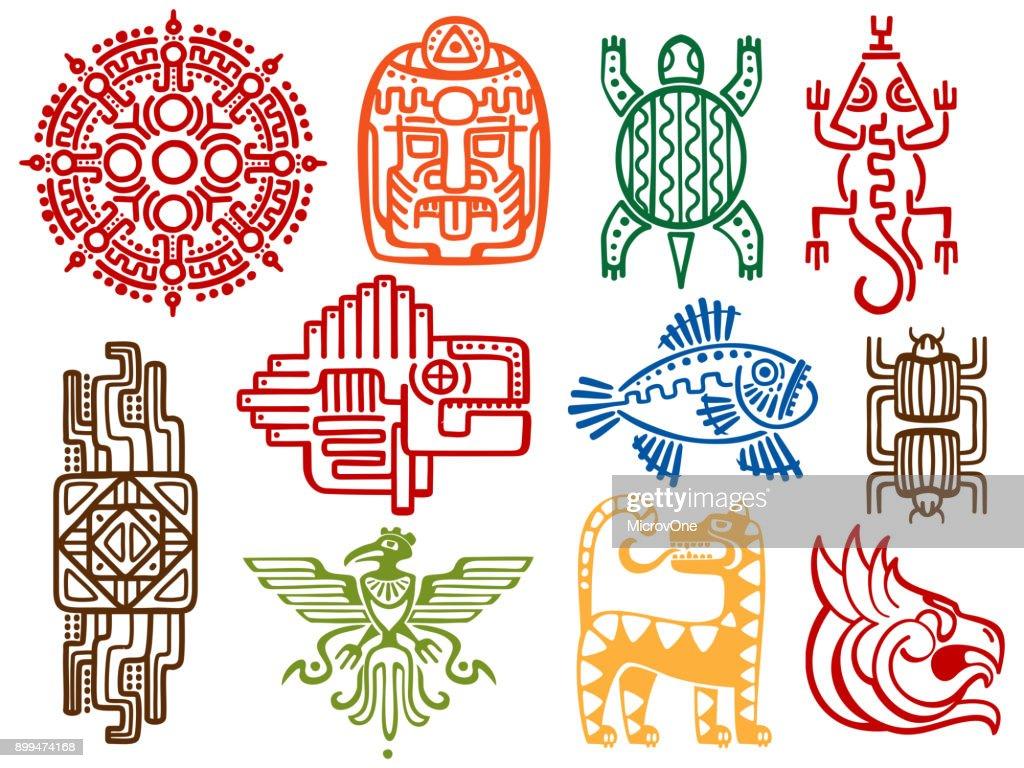 Colorful ancient mexican vector mythology symbols - american aztec, mayan culture native totem