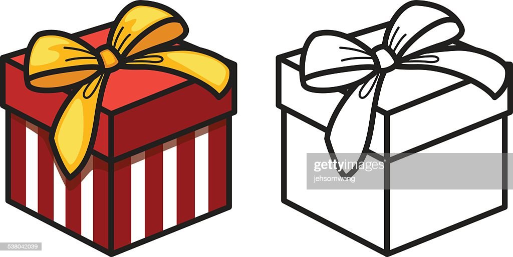 Colorful And Black And White Gift Box For Coloring Book Vector Art