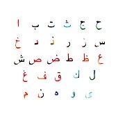 Colorful Arabic alphabet design