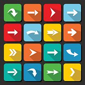 Colorful arrow icon collection on square web buttons.