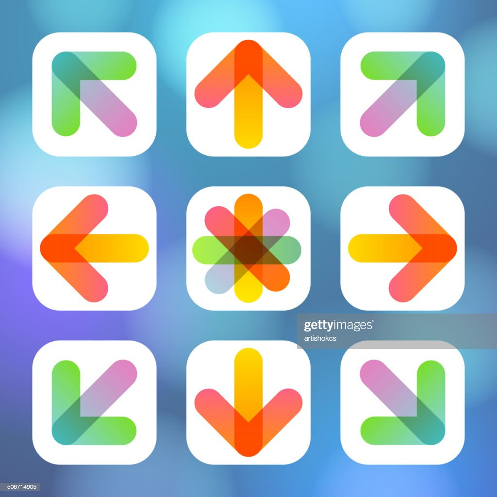 Colorful Arrow Icon Flat Menu.