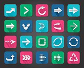 Colorful Arrow sign vector icon set button.