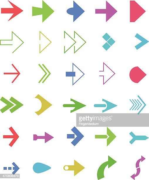colorful arrows set - former stock illustrations, clip art, cartoons, & icons