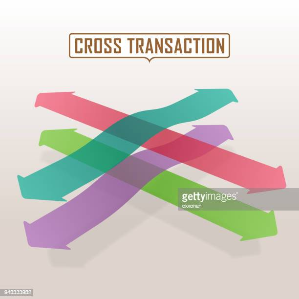 colorful arrows through the crossroad - road intersection stock illustrations