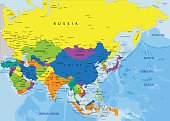 Colorful Asia political map.