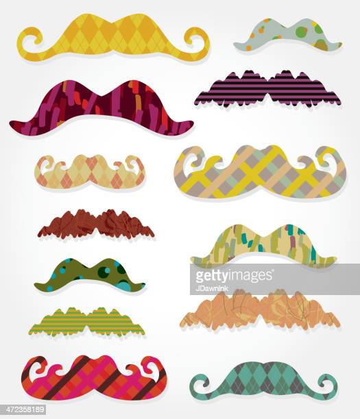 Colorful assorted patterns mustache set