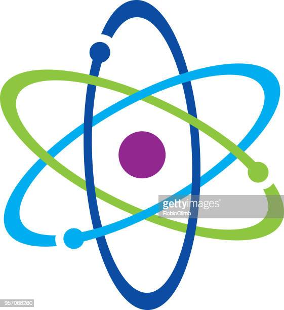 colorful atom icon - nuclear energy stock illustrations