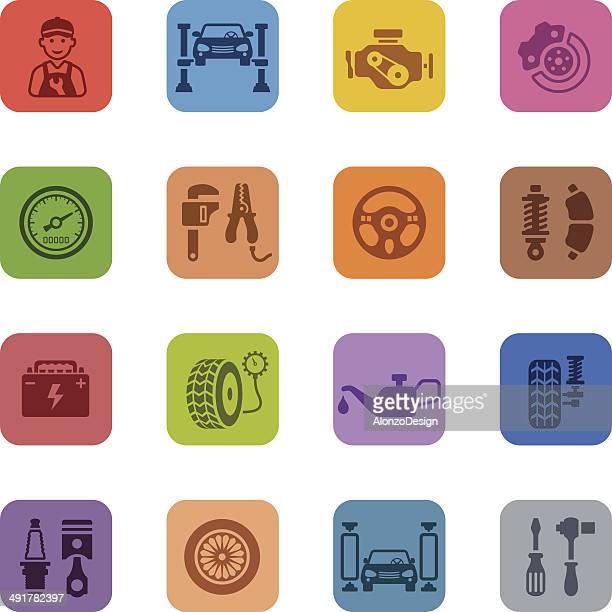 Colorful Auto Service Icon Set