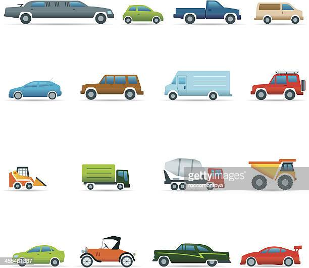 colorful automotive vector icons - suv stock illustrations, clip art, cartoons, & icons