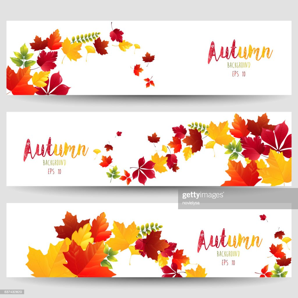 Colorful autumn leaves of banners