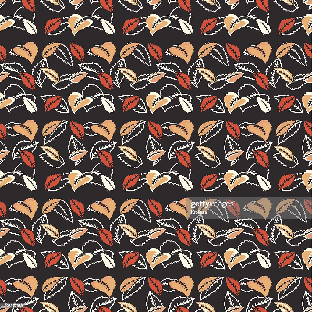 Colorful autumn leaves seamless pattern. Background. Vector illustration. : Vector Art