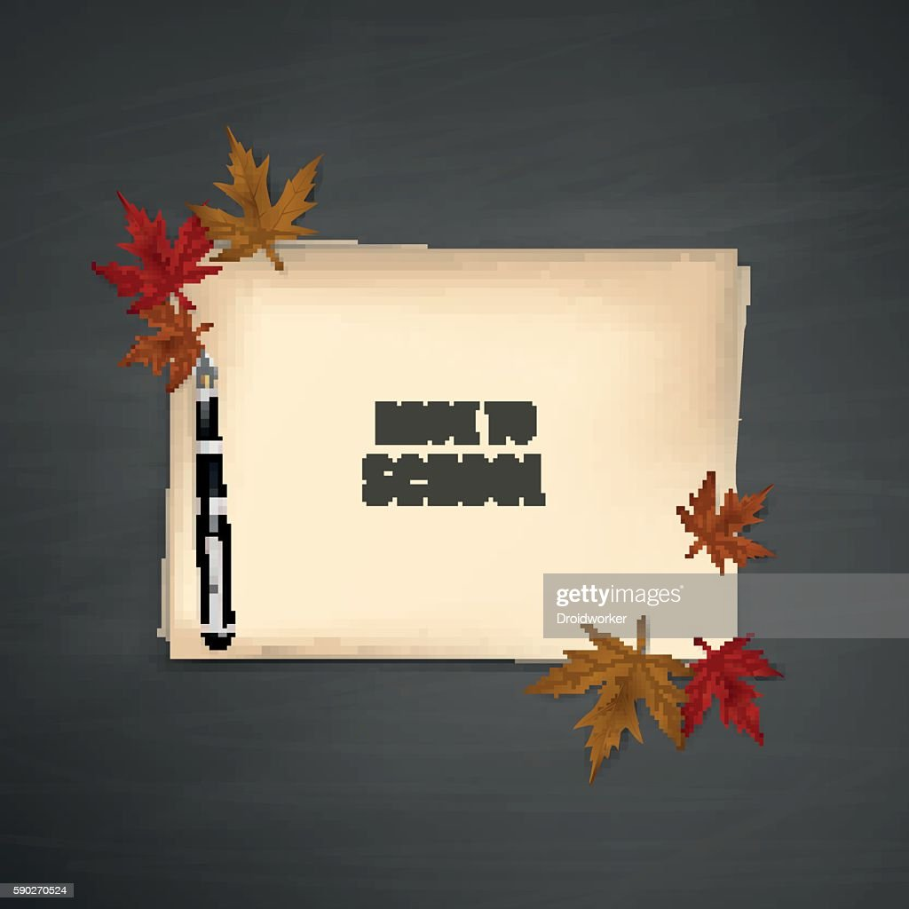 Colorful autumn leaves with old paper, Mockup - Illustration