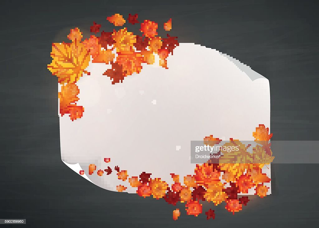 Colorful autumn leaves with paper, Mockup - Illustration