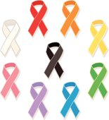 Colorful awareness ribbons on white background