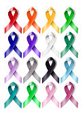 Colorful awareness ribbons