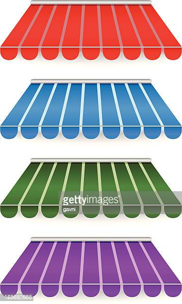 colorful awnings - awning stock illustrations, clip art, cartoons, & icons