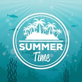 colorful background sea landscape underwater and logo summer time silhouette island with palms