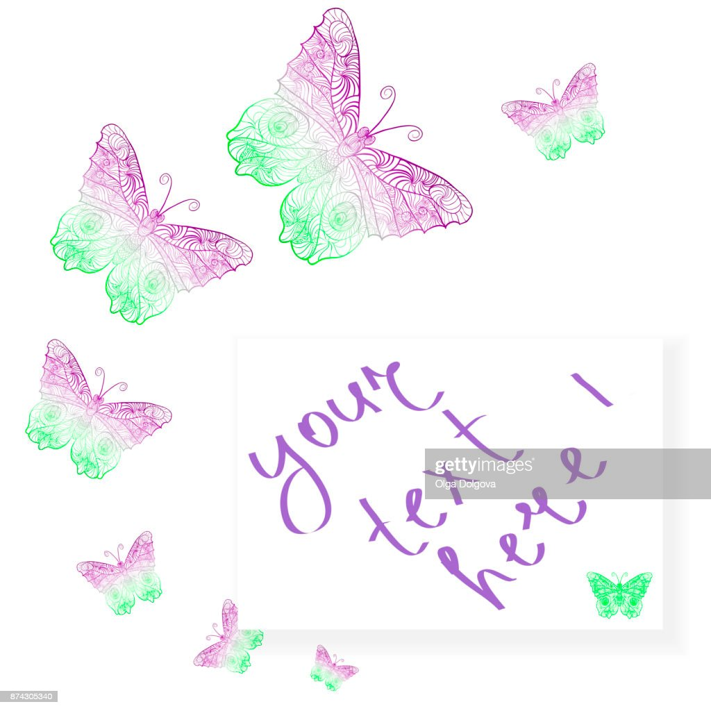 Colorful Background With Butterfly Frame With Butterfly For Cards