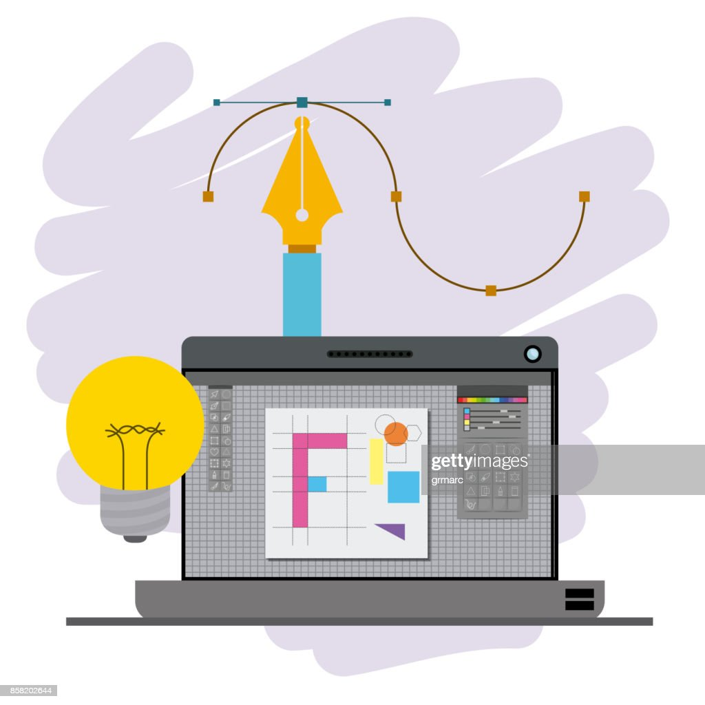 colorful background with laptop computer and fountain pen and light bulb design creative process