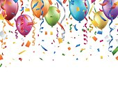 Colorful balloons, confetti and streamers on white background