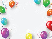 colorful balloons, happy birthday vector illustration. Confetti and ribbons, Celebration background template with.