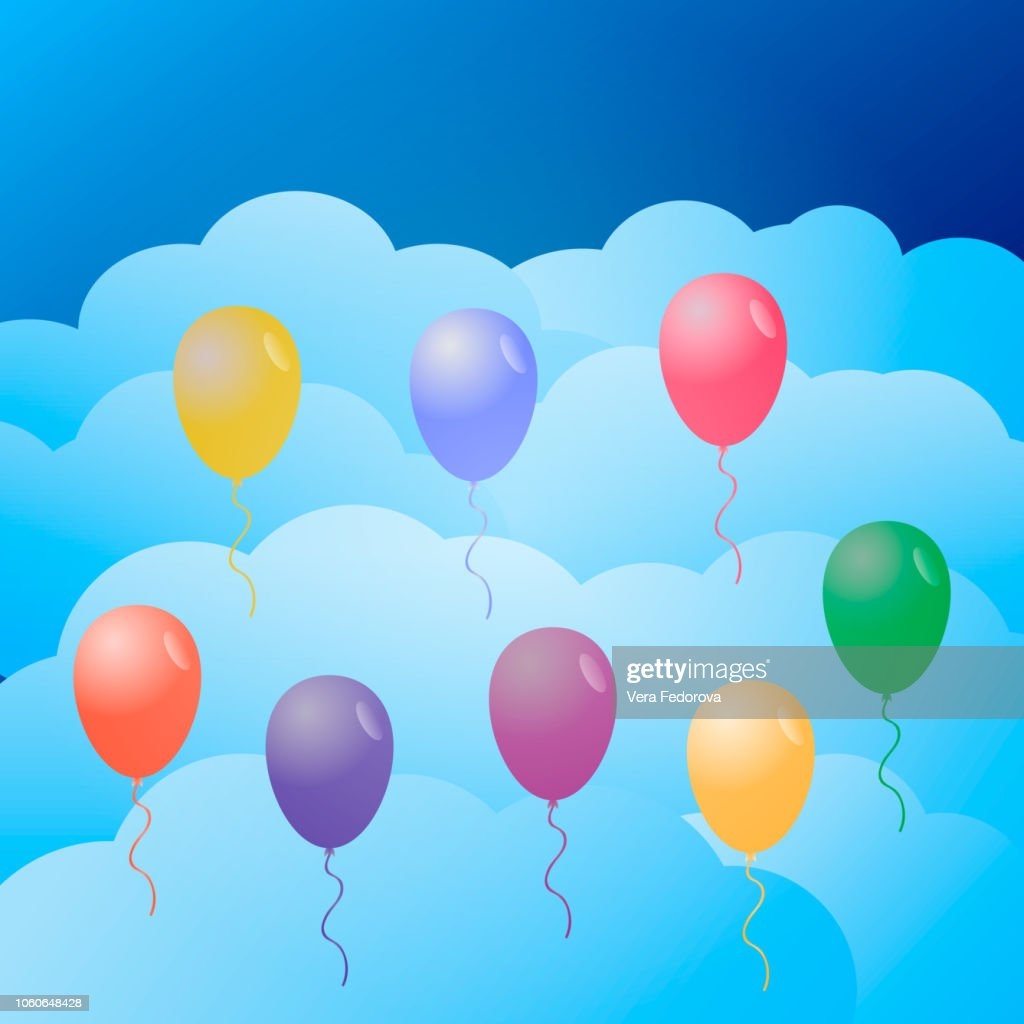 Colorful balloons in the sky.