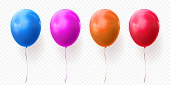 Colorful balloons vector transparent background glossy realistic baloons for Birthday party