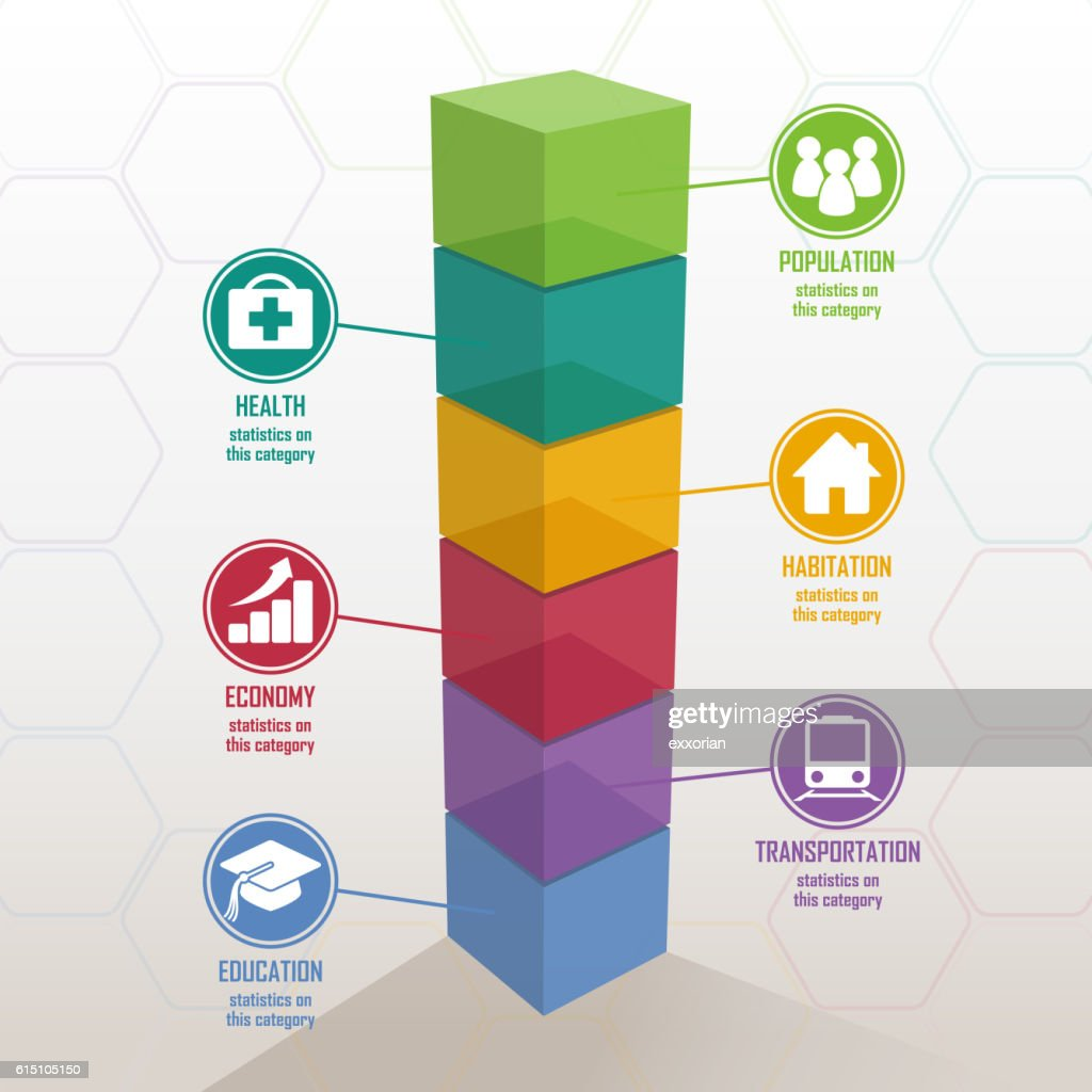 3D Colorful Bar Chart : stock illustration
