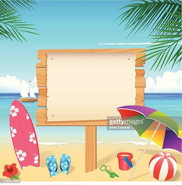 colorful beach accessories with blank wooden sign - holiday travel stock illustrations, clip art, cartoons, & icons
