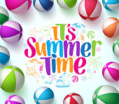 Colorful Beach Balls Background in Vector with Summer Time