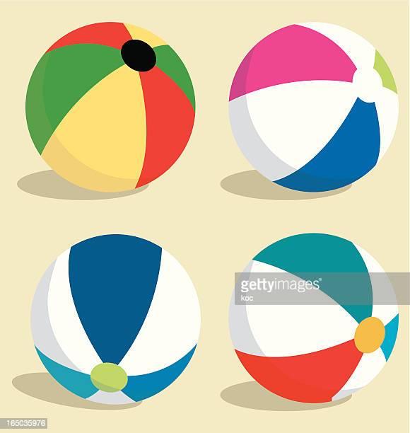 ilustraciones, imágenes clip art, dibujos animados e iconos de stock de bolas coloridas playa - pelota de playa