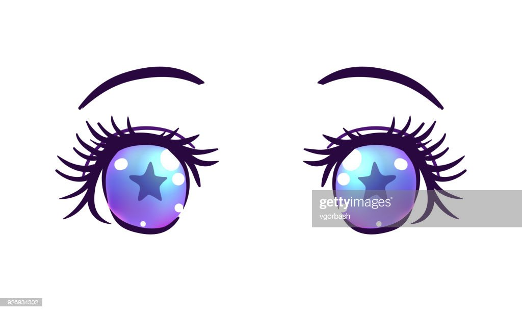 Colorful beautiful eyes in anime (manga) style with shiny light reflections.