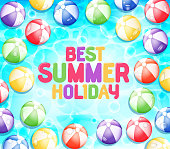 Colorful Best Summer Holiday with Many Beach Balls Floating
