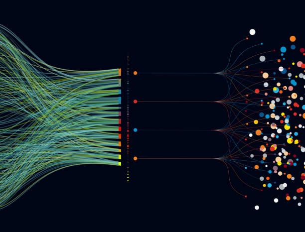 豐富多彩的大資料模式的背景 - 聯繫 幅插畫檔、美工圖案、卡通及圖標