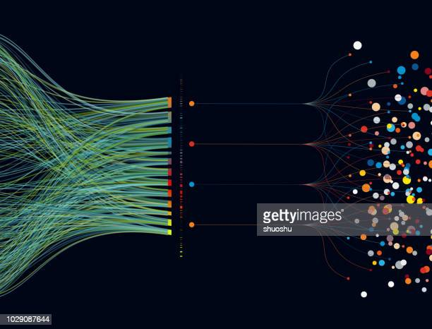 colorful big data pattern background - connection stock illustrations