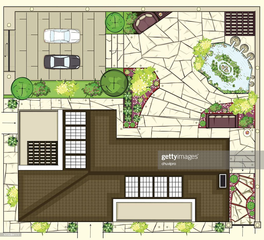 Colorful birds eye view of house layout : stock illustration