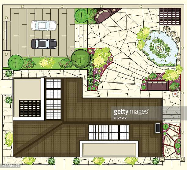 colorful birds eye view of house layout - architectural feature stock illustrations, clip art, cartoons, & icons
