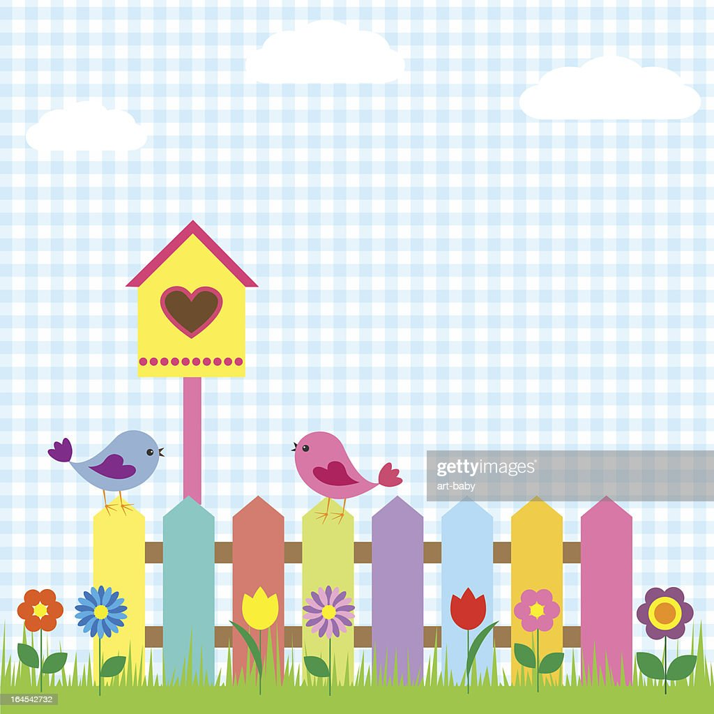 Colorful birds, fences and birdhouse background