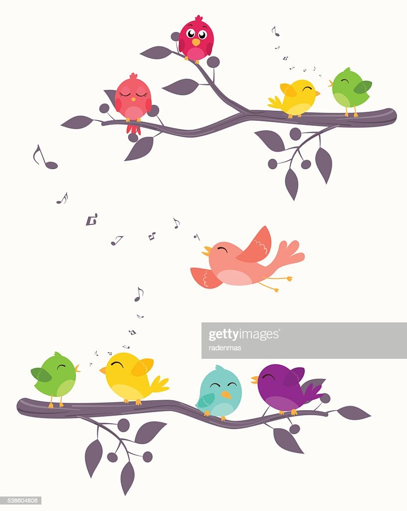 Colorful Birds on branches background
